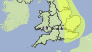 Area covered by a Met Office yellow weather warning for heavy rain.