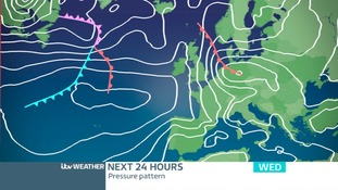 PRESSURE CHART TODAY: A Warm Front is approaching