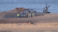 The scene of the helicopter crash at Cley.