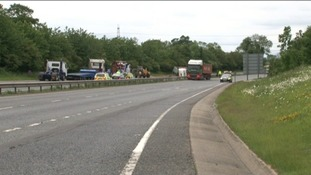 Scene of the crash on the A47