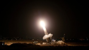 An Iron Dome launcher fires an interceptor rocket in the Israeli city of Ashdod.