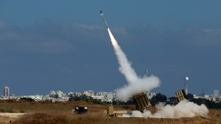 An Iron Dome launcher fires an interceptor rocket in the southern Israeli city of Ashdod.