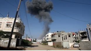 An explosion in Gaza City.