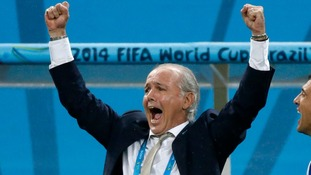 Argentina's coach Alejandro Sabella celebrates their semi-final victory.