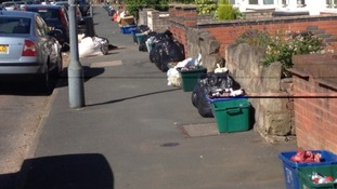 Bins uncollected in Kings Heath, Birmingham