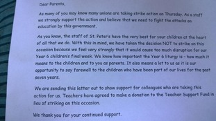 St Peter's Catholic School sent this letter to parents about the strikes
