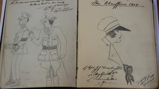 Sketches by soldiers in nurses book