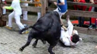 Bull-running expert Bill Hillman ends up in hospital after goring