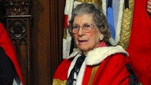 Baroness Trumpington before the State Opening of Parliament in June 2014