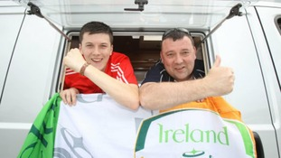 Father and son Joe and Ronan Organ, from Cork, travelled to Euro 2012 in a campervan from Berlin.