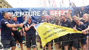 Celebrations as the Clipper Round the World Yacht Race ends.
