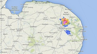 Rainfall radar was picking up one heavy shower to the north east of Norwich at 6.05pm.
