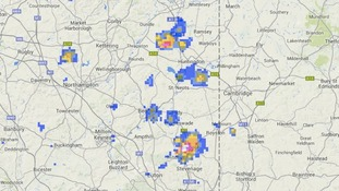 Rainfall radar is picking up clusters of heavy showers north of Stevenage and around Huntingdon.
