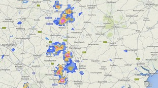Rainfall radar at 7.05pm showing a cluster of heavy showers between Peterborough and Stevenage.