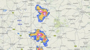 Thundery showers on the border of Cambridgeshire and Norfolk and Suffolk at 8.15pm.