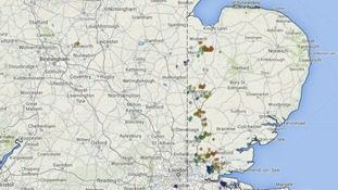 Lightning strikes recorded in East Anglia between 7.20 and 8.20pm on Saturday.