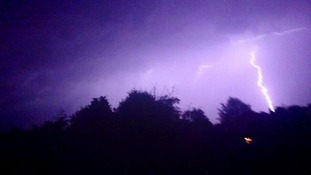 Lightning strikes at Elmswell between Bury St Edmunds and Stowmarket, Suffolk