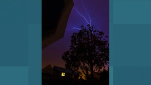 Forked lightning over Colchester, Essex.