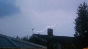 Lightning in Bury St Edmunds, Suffolk.