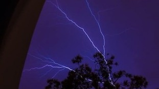 Forked lightning on Saturday evening in Colchester, Essex.