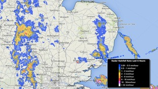 A second band of heavy showers is moving into the west of the Anglia region.