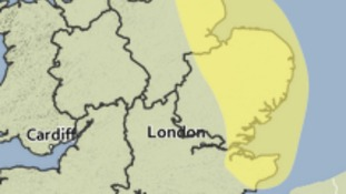 Area covered by Sunday's Met Office weather warning for heavy rain.