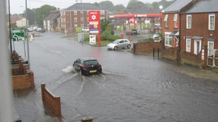 Flooding on Beccles Road in Gorleston.
