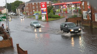Flooding on Beccles Road in Gorleston, Norfolk