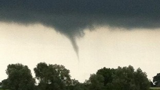 A funnel cloud pictured at Wortwell near Harleston, Norfolk