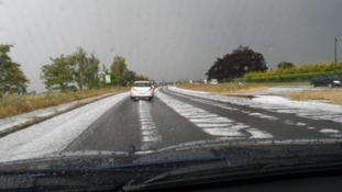 Hail and surface water flooding on the A47 near Acle, Norfolk on Friday 27 June.
