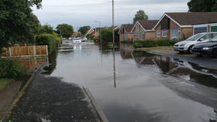 Flooding in Appleton Drive, Ormesby, Norfolk.