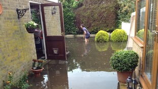 Flooded gardens at Ormesby in Norfolk