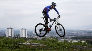 Scottish mountain bike hopeful Rab Wardell at the opening of the Cathkin Braes course.