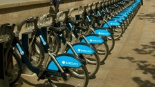 'Boris bikes' parked at a station in central London.