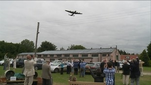 Lancaster bomber fly past at RAF Metheringham