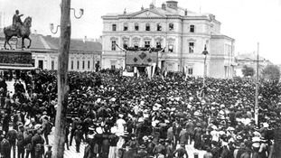 A protest against Austria-Hungary in front of Belgrade's national theatre takes place in July 1914.