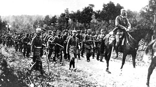 The first German troops cross the French border in August 1914.