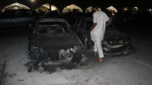 Cars at Tripoli airport have been destroyed by the clashes