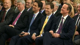 Andrew Lansley with William Hague, Ed Miliband, Nick Clegg and David Cameron.