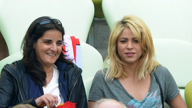 Gerard Pique's popstar girlfriend Shakira at the game against Italy.