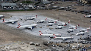 Aerial view of Heathrow airport in west London