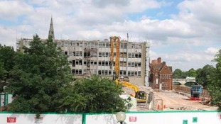 Demolition work at Bedford town hall.