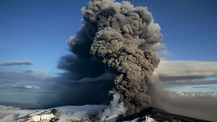An ash cloud rising from the Eyjafjallajokull volcano in Iceland.