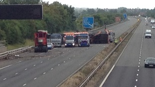 M5 lorry is lifted upright