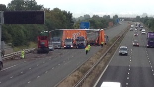 The lorry on the M5 is pulled upright