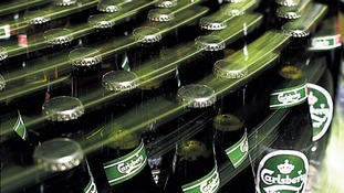 Bottles of Carlsberg beer.