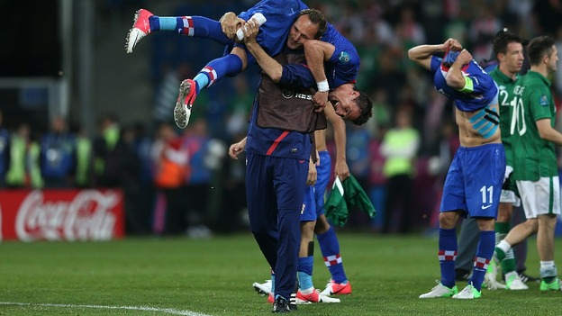 Mario Mandzukic is put over a team-mate's shoulder.