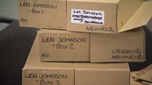 Boxes containing his life story in the Working Class Movement Library