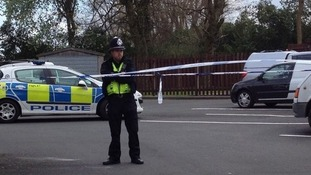 Police at the scene of the brawl in Great Barr on Good Friday