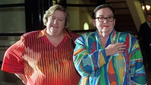 Clarissa Dickson Wright (left) with Two Fat Ladies co-star Jennifer Paterson
